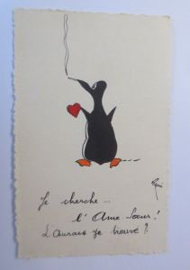 Pinguin, Herz, Rauchen,  1928, Reni  ♥ (57205)