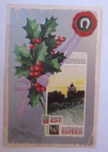 Weihnachten, Kirche, Disteln,  1900, Prägekarte ♥ (1898)