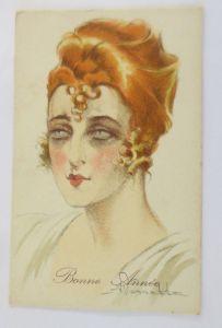 Neujahr, Künstlerkarte, Frauen, Mode, 1908, A. Vassatta ♥ (69236)