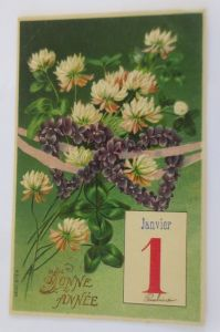 Neujahr, Blumen, Kleeblatt, Kalender,    1907, Prägekarte ♥ (69230)