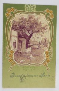 Neujahr, Haus, Landschaft, Jugendstil,   1902, Prägekarte  ♥ (69226)