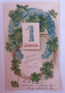 Neujahr, Blumen, Kleeblatt, Vergissmeinnicht, Hufeisen,1905, Prägekarte ♥(68905)
