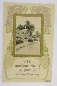 Neujahr, Jugendstil, Landschaft, Haus,   1904, Prägekarte ♥ (69215)