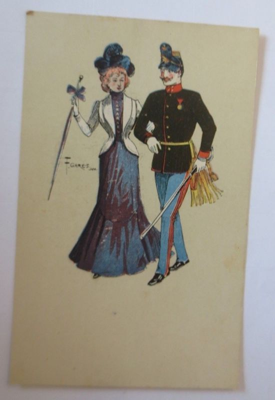 Künstlerkarte, Frauen, Soldat, Mode,   1900, F. Gareis ♥ (57551)