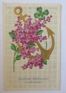 Neujahr, Blumen, Anker, Kleeblatt,  1907, Prägekarte ♥ (908)