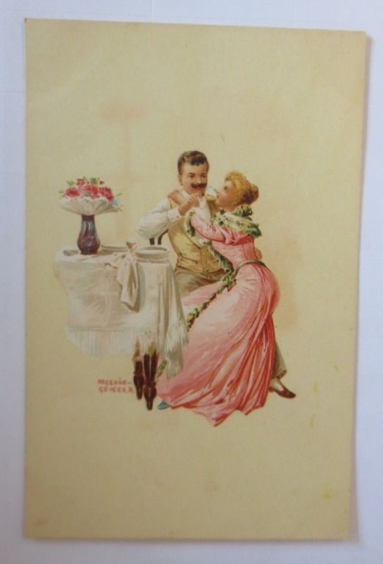 Künstlerkarte, Frauen, Männer, Mode, Bett,  1900,  Hegedüs Geiger  ♥ (57546)