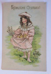 Ostern, Kinder, Mode, Küken, Weidenkätzchen, 1907, Prägekarte  ♥ (69002)