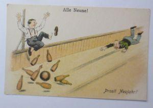 Neujahr, Scherzkarte, Männer, Kegeln, Alle Neune,   1930 ♥ (69161)