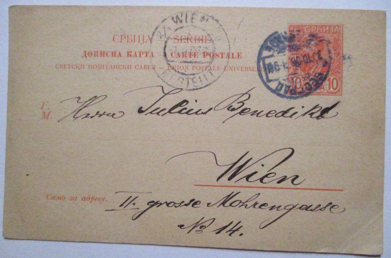 Serbien, Ganzsache 1906 von Belgrad nach Wien (46696)