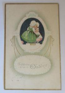 Ostern, Kinder, Mode, Biedermeier,    1915, Prägekarte  ♥ (5879)