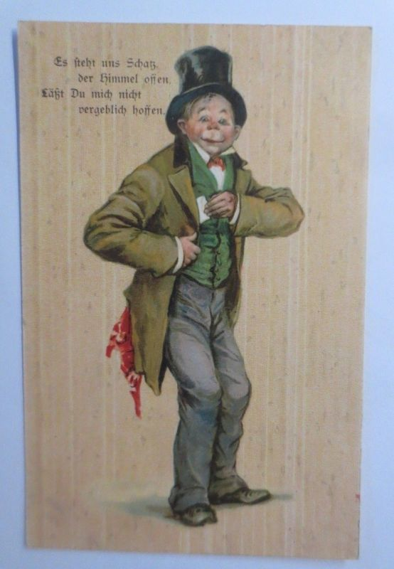 Scherzkarte, Männer, Zylinder, Spruch,  1910  ♥ (68548)