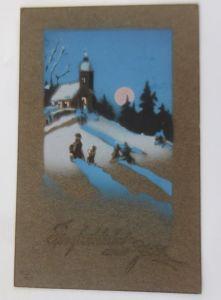 Neujahr, Winter, Kirche, Mond,    1913  ♥ (69190)