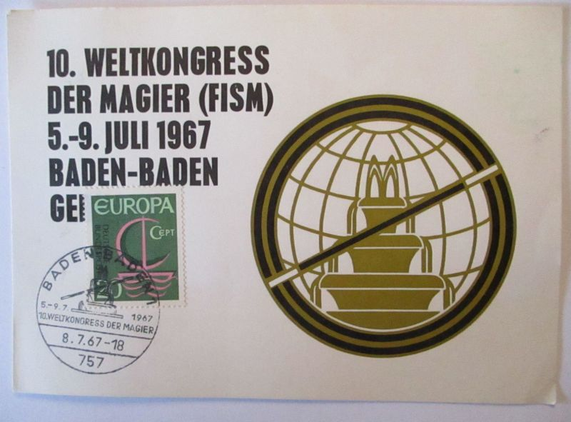 Zaubern FISM, 10. Weltkongress der Magier 1967 Baden-Baden (64503)