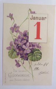 Neujahr, Blumen, Kalender,    1905, Prägekarte ♥ (69492)