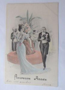 Neujahr, Frauen, Männer, Blumen,     1901 ♥ (25033)