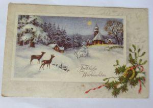 Weihnachten, Winterlandschaft, Rehe, Kirche, Mond,    1930 ♥ (69415)