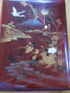 Altes chinesisches Ansichtskarten-Lackalbum (Holz) für ca. 400 Karten ca. 1900