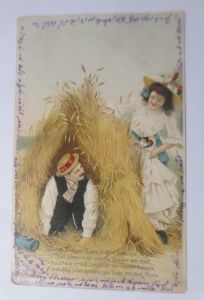 Frauen, Männer, Mode, Korn,  1905, Prägekarte ♥  (23231)