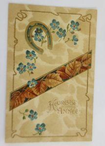 Neujahr, Hufeisen, Vergissmeinnicht, Blätter,   1905, Prägekarte ♥ (69209)