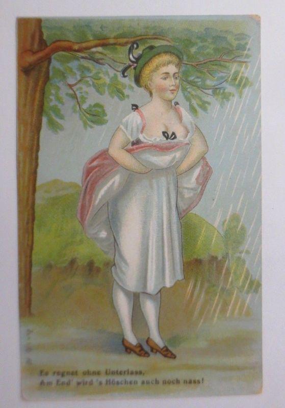 Scherzkarte, Es regnet ohne Unterlass, Am End wird´s Höschen nass,  1900♥(33610)