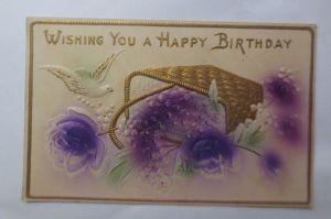 Geburtstag, Blumen, Tauben,  1910, Prägekarte ♥ (69754)