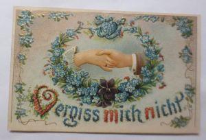 Blumen, Gratulieren, Vergissmeinnicht, Blumen,  1909, Prägekarte  ♥ (69851)