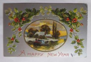 Neujahr, Winterlandschaft, Fluss, Boot, Disteln,  1906, Prägekarte  ♥ (69849)