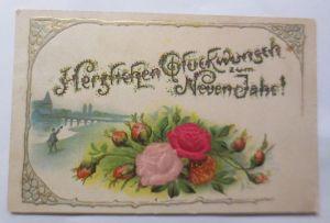 Neujahr, Jugendstil, Blumen, Rosen, Landschaft, 1909, Prägekarte  ♥ (69846)