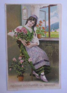 Namenstag, Frauen, Mode, Blumen,   1917, Prägekarte ♥ (69946)