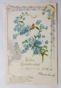 Geburtstag, Jugendstil, Vogel, Vergissmeinnicht,  1905,  Prägekarte ♥ (69811)