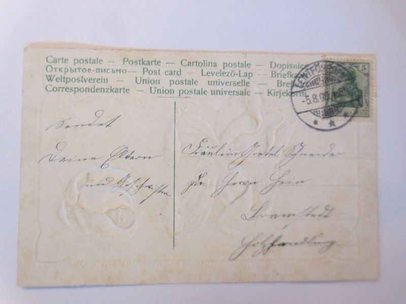Geburtstag, Jugendstil, Blumen, See, Boot, 1909, Prägekarte ♥ (69943
