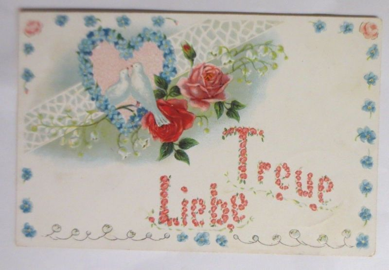 Valentinstag, Tauben, Herz, Rosen, Treue Liebe,    1907,  Prägekarte ♥ (69808)