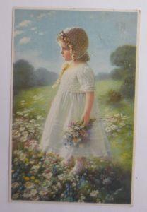 Neujahr, Kirche, Vogel, Blumen,  1908,  Prägekarte ♥ (69679)