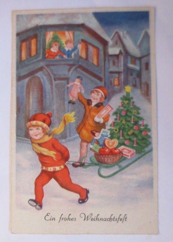 Weihnachten, Kinder, Spielzeug, Schlitten, Weihnachtsbaum, 1930 ♥ (69909)