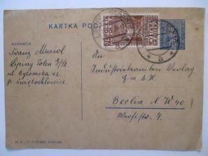 Polen, Ganzsache 1929 mit Zusatz von Lipiny nach Berlin (69852)