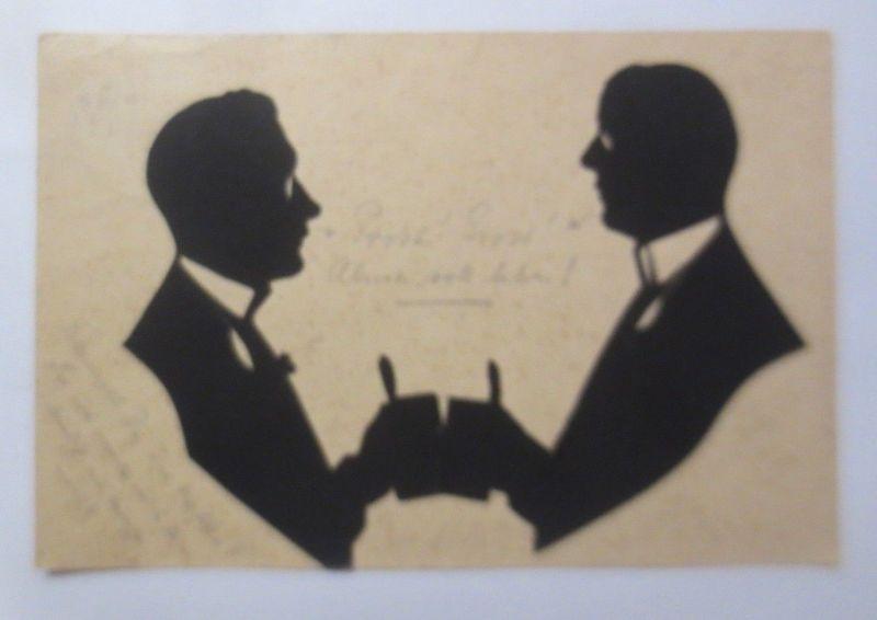 Original-Scherenschnitt, Studentika, Männer, Bier, Bierkrug, 1911 ♥ (69751)