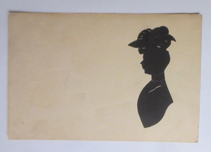 Original-Scherenschnitt, Frauen, Hut,      1900 ♥ (69749)