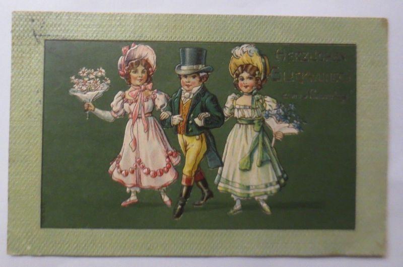 Namenstag, Kinder, Mode, Blumen,    1911, Prägekarte ♥ (69775)