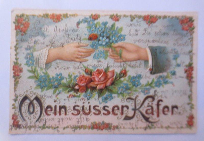 Valentinstag, Mein süßer Käfer, Marienkäfer, Blumen,  1906, Prägekarte ♥ (69931)
