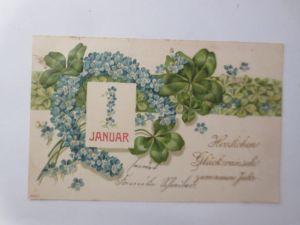 Neujahr, Hufeisen, Kalender, Kleeblatt, Vergissmeinnicht,1904,Prägekarte♥(69708)