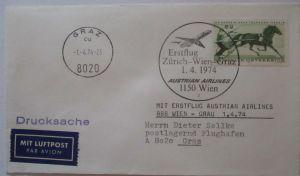 AUA Austrian Airlines Erstflug Zürich Wien Graz 1974 (46065)