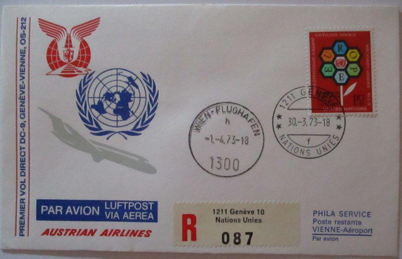 AUA Austrian Airlines Luftpost UNO Genf 1973 (44732)