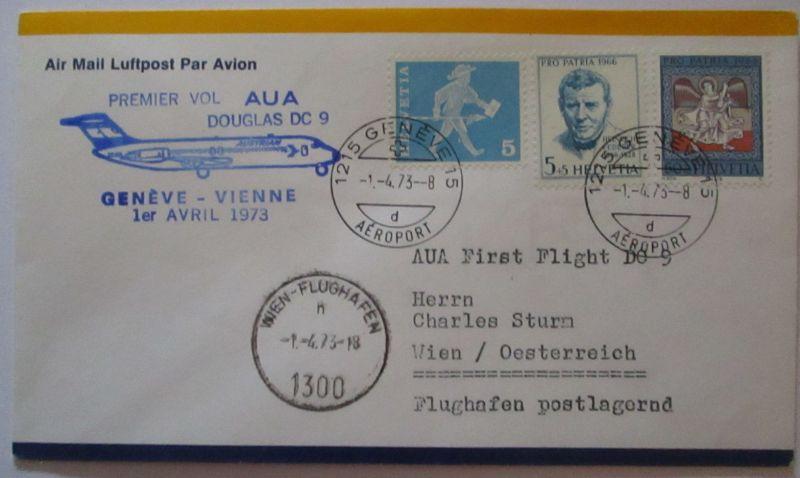 AUA Austrian Airlines Erstflug Douglas DC 9 Genf Wien 1973 (67919)