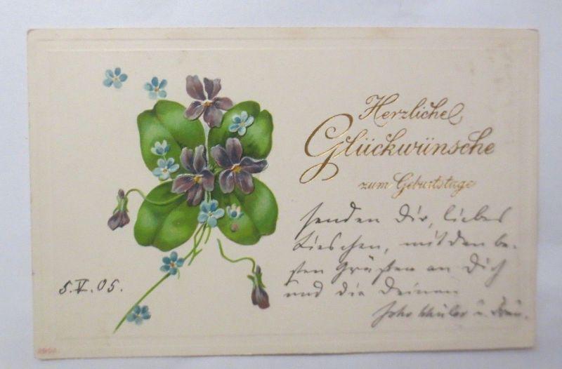 Geburtstag,  Blumen,  Kleeblatt, 1905, Prägekarte ♥ (69760)