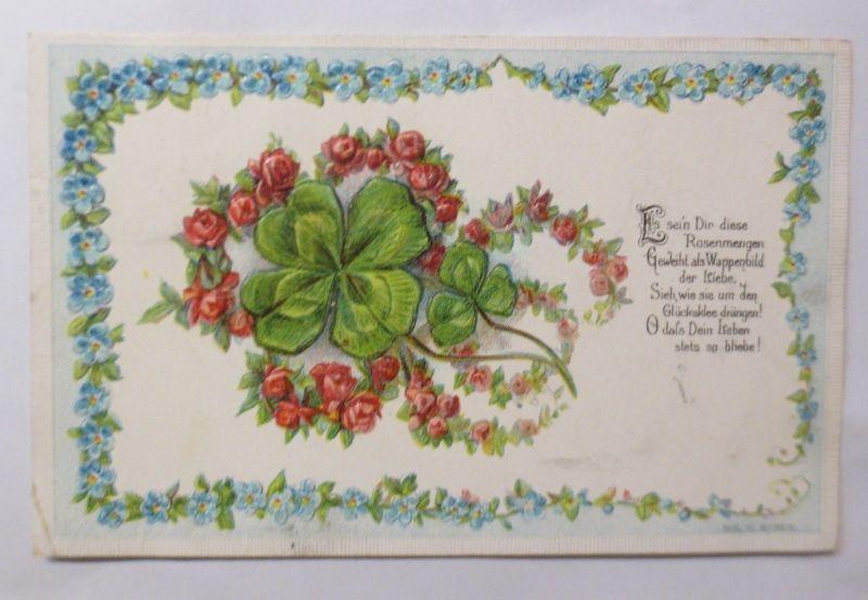 Jugendstil, Blumen, Kleeblatt, Rosen,   1907, Prägekarte ♥ (69758)