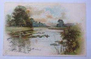 Künstlerkarte, Landschaft, See, Sonne, Sonnenscheinkarte,   1900  ♥ (69922)
