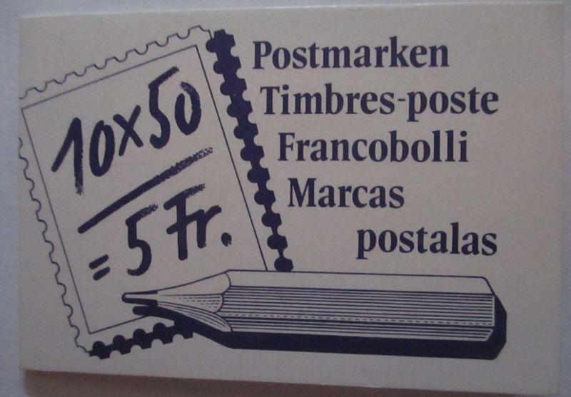 Schweiz Markenheftchen 5 Franken gestempelt 1988 (67262)
