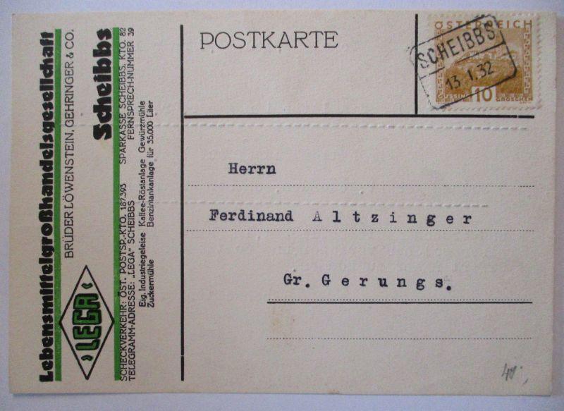 Werbung Reklame Österreich, Lebensmittel Löwenstein in Scheibbs 1932 (10359)