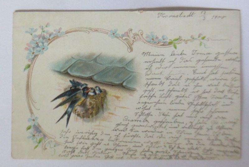 Jugendstil, Schwalben, Nest,  1900, aus Traisen ♥  (70115)