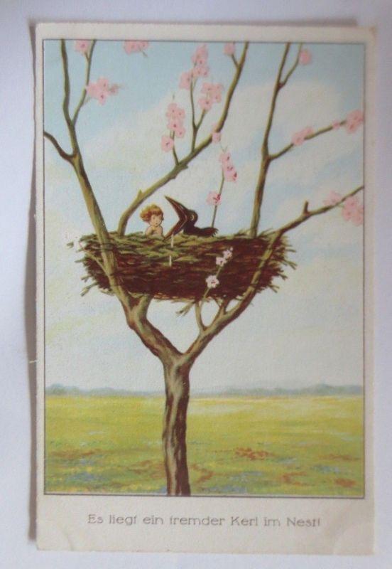 Kinder, Nest, Rabe, Baum, Es liegt ein fremder Kerl im Nest, 1930 ♥  (70113)